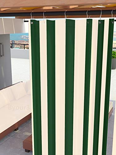 Tende Da Sole per Esterno Con Anelli a Caduta Su Misura MADE IN ITALY Stoffa Tessuto Impermeabile Antimuffa TELi Parasole Laterali Gazebo Balconi Terrazzo Veranda Camper (Righe Verde,  X 290cm)