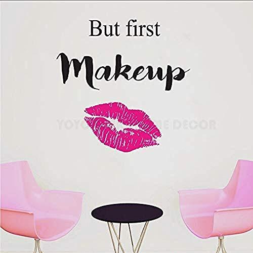 Muursticker Afneembare muurschildering 3D Art Home Ation Muur Alles wat je nodig hebt is Koffie en Lippenstift Vrouwen Schoonheid Salon Stickers Rode Lippen Muur 42 X 40Cm