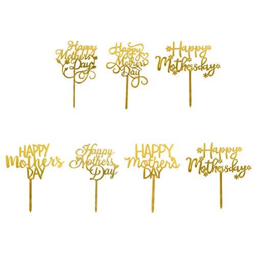 7 piezas DIY decoración de tartas acrílicas para decoración de tartas, para el día de la madre, para fiestas o postres (patrón al azar)