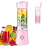 Portable Mini Blender, Travel Juicer Smoothie Maker with 3D 6 Blades ,USB Rechargeable Juice Mixer 100W 480ML,with 4000mAh Rechargeable Battery, Wireless Personal Fruit Blender Cup for Home,Office,Sports,Travel, Outdoors