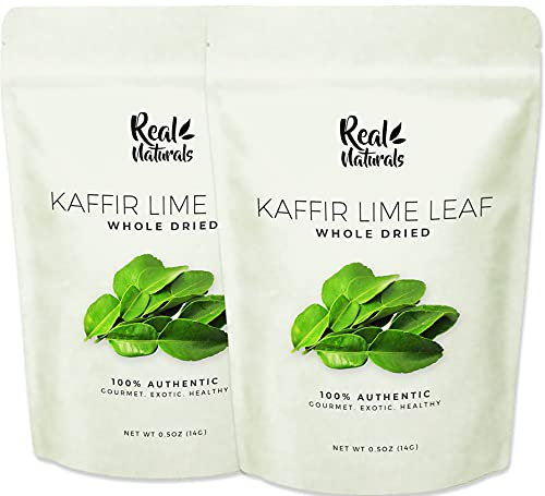 Kaffir Lime Leaves, dried 2 x 0.5oz Bags (2 Packs). Fragrant spices made from whole kaffir lime leaves. Serve with jasmine rice for authentic Asian food experience and great for Thai curry, Tom Yum, Indian food
