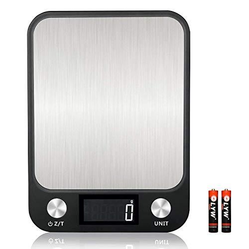 KINLO Küchenwaage Touch Control Digitalwaage Nahrungsmittelskala elektronische Waage hohe Präzision auf bis zu 1g, 10kg Maximalgewicht Haushaltswaage mit leuchtende LCD-Anzeige, Inkl. Batterien