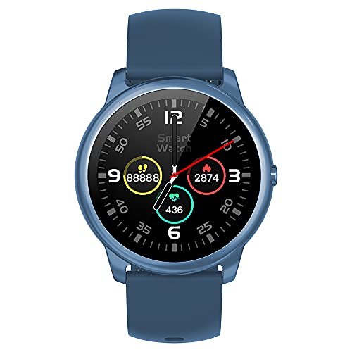 French Connection R7 series Unisex smartwatch (Band color : Blue) with Full Touch screen, Metal case, Bluetooth calling with mic and speaker, continuous Heart rate & Blood pressure monitoring and up to 15 days active battery life