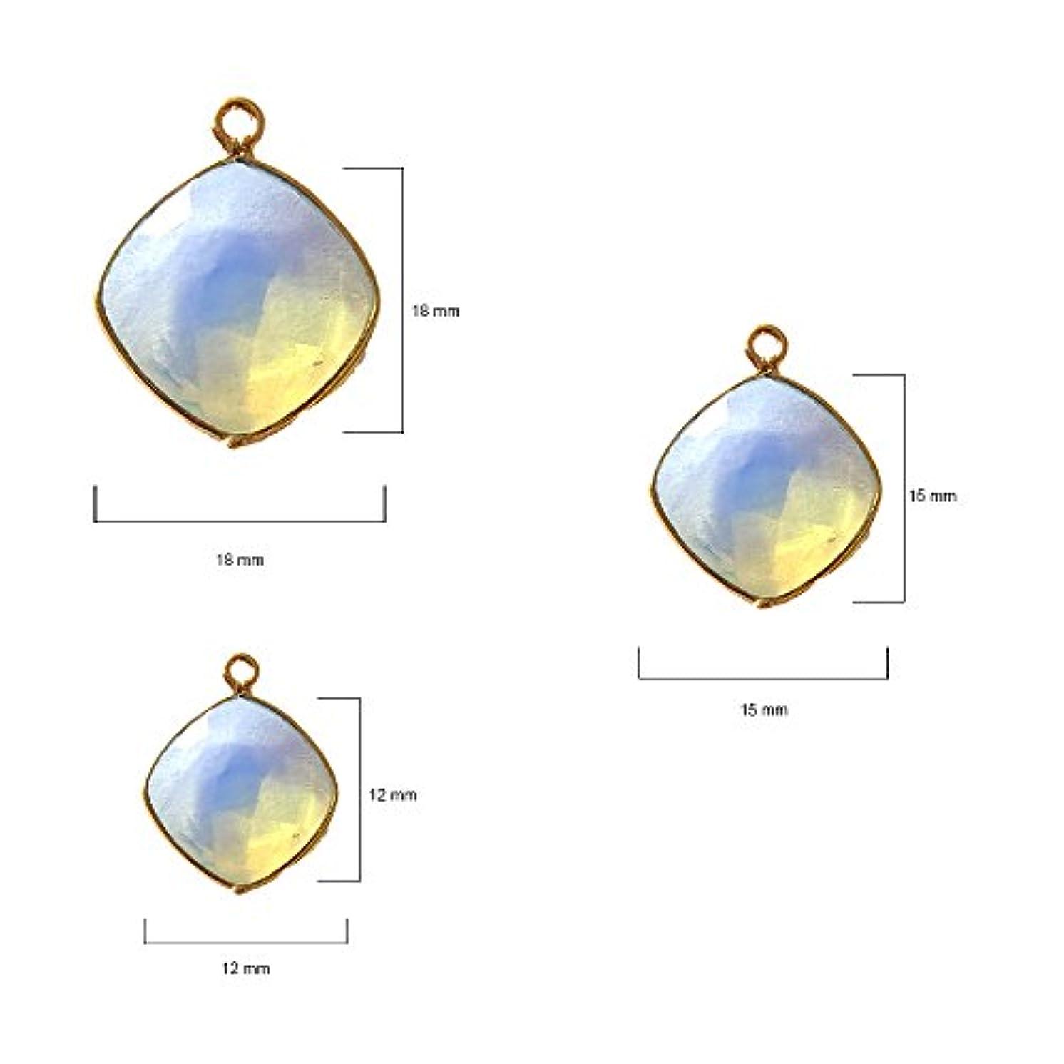 4 Pcs Opalite Cushion Beads 12mm 24K Gold Vermeil by BESTINBEADS, Opalite Hydro Quartz Cushion Pendant Bezel Gemstone Connectors Over 925 Sterling Silver Bezel Jewelry Making Supplies