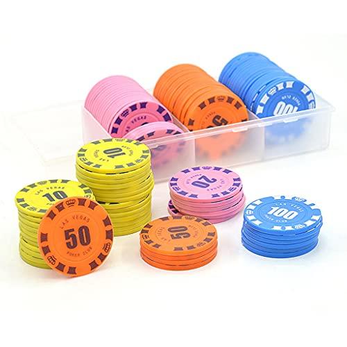 YOUAI Moneda de negociación, Yuncang, 100 Piezas, fichas Redondas de plástico, Juego de Cartas de póquer de Casino, Accesorios de conteo de bacará