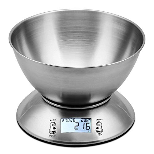 KAUTO (11lb/5kg) Kitchen Stainless Steel Digital Cooking Food Scales with Detachable Mixing Bowl Timer Alarm, Digital Food Scales, Silver,The Best Choice for The Kitchen
