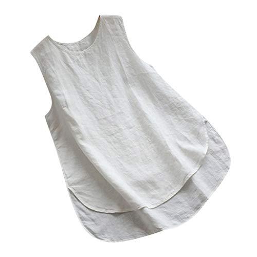 VEMOW Camiseta Tops Mujeres Lanzamiento de Ventas Tallas Grandes Tallas de Lino Vintage sólido sin Mangas Flojo Chaleco Blusa(U Blanco,XXL)