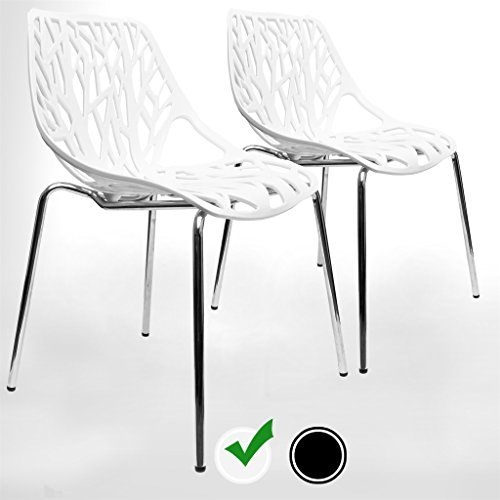 UrbanMod Modern Dining Chairs (Set of 2) by, White Chairs, Kid-Friendly Birch Chairs, Stackable Modern Chair, Mid Century Dining Chair