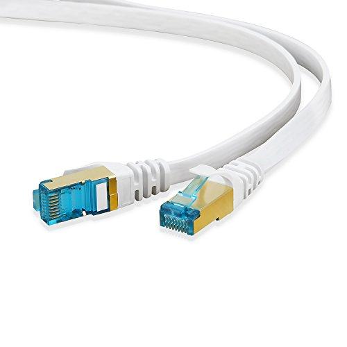 HUANGTAOLI Cavo di Rete Piatto, Cavo Ethernet Gigabit LAN con Connettori RJ45 Placcati in Oro Alta velocità S/STP 10 Gbps 600MHz - Compatibile con Computer, Switch, Router, Modem, VoIP e più