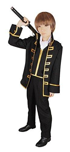 『銀魂 真選組 隊服 金縁 コスプレ 衣装 Mサイズ スカーフ アイマスク 付き 5点セット』のトップ画像