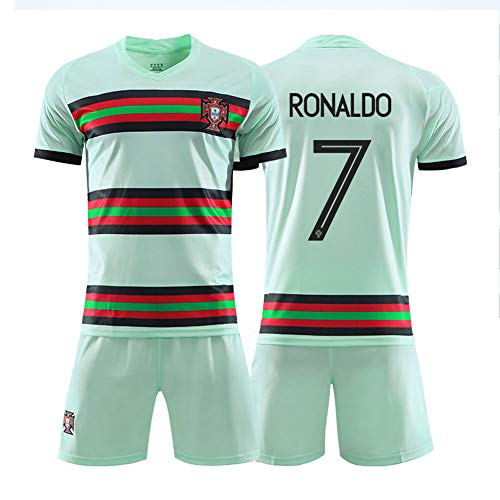 LYKH# 7 Ronaldo 20-21 Portugiesisches Heimtrikot Trikot Herren Kurzarm T-Shirt Kinder Fußballtrainingsanzug Sportbekleidung Set Schnell trocknen- 18 (105~115CM)