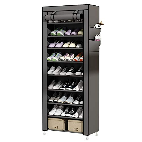 UDEAR Zapato del gabinete Zapatero de Tela 10 Niveles Zapateros y hormas para Zapatos Gris