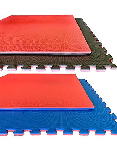 Jardin202 - Tatami Puzzle 1000x1000   Esterilla Reversible Antideslizante   Suelo para gimnasios, Artes Marciales, Judo   con Bordes   Espesor: 20mm (Rojo y Azul)