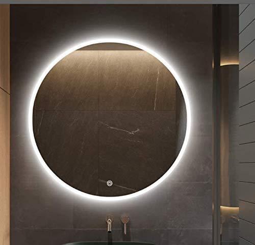 S · bagno - Espejo redondo iluminado LED con retroiluminación y altavoz Bluetooth, función de atenuación, almohadilla antivaho e interruptor de sensor táctil