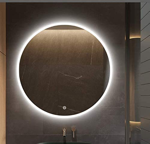 S · bagno - Espejo redondo iluminado LED con retroiluminación y altavoz Bluetooth, función de atenuación, almohadilla antivaho e...