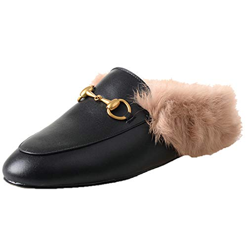 Agodor Womens Flats Suede Leather Slingback Mules with Faux Fur Slip on Outdoor Dress Slippers Warm Classic Shoes Black, 7 M US