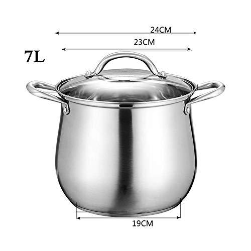8bayfa 304 roestvrij stalen soeppan met deksel van gehard glas en handgrepen met goede hechting, 2,22 cm 24cm 1 exemplaar