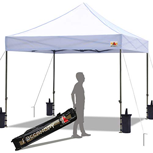 ABCCANOPY Pop up Canopy Tent Commercial Instant Shelter with Wheeled Carry Bag, Bonus 4 Canopy Sand Bags, 10x10 FT (White)