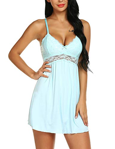 Ababoon Women Lace Modal Sleepwear Chemises V-Neck Full Slip Babydoll Nightgown Light Blue