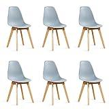 Designetsamaison Lot de 6 chaises scandinaves Grises - Onir