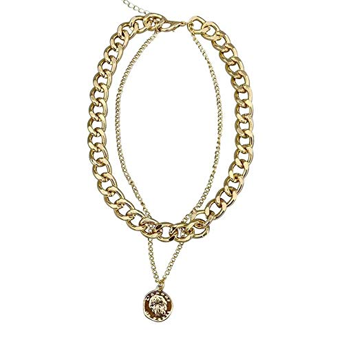 RQQ Cadenas de clavículas Femeninas, Cadenas de Collar de Metal, Cadenas de Cuello de Mujer. Golden