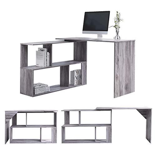 EUCO Computer Desk,Black Office Desk L-Shape Wood Corner Workstation Desk Large PC Gaming Desk Study Table for Home/Office (Grey(Rotatable))