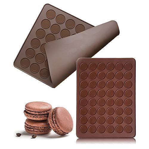 MHwan Backmatte Macaron, Backmatte Hundekekse, Macaron Pad Silikon Backmattenform Set 48 Löcher Kapazität Backblechformen für Macaron, Cupcake, Dessert, 38x28,6x0,5 cm, 2 Stück
