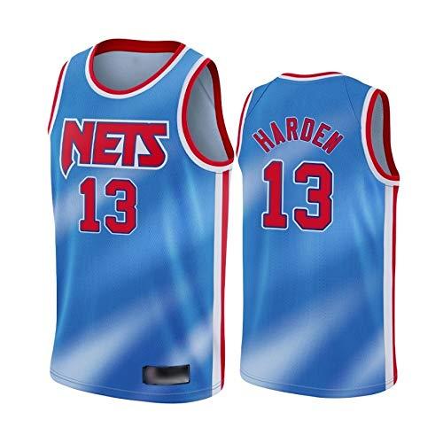 WOLFIRE WF Camiseta de Baloncesto para Hombre, NBA,Brooklyn Nets # 11 Kyrie Irving. Bordado, Transpirable y Resistente al Desgaste Camiseta para Fan (Harden Retro, XL)