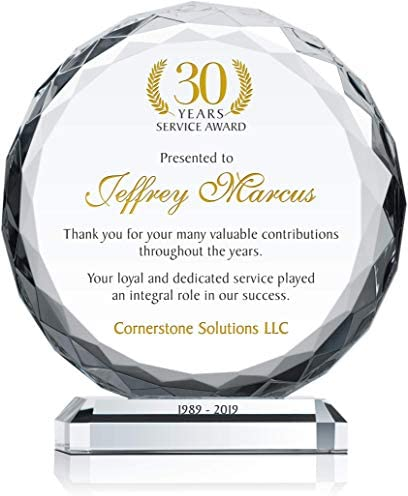 10 Personalized Crystal Circle Employee Years of Service Award ...