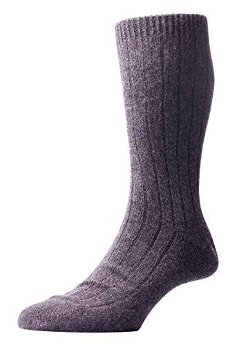 Pantherella Charcoal Waddington Rib Luxus Cashmere Socken - Mittelgroß
