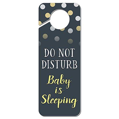 Graphics and More Do Not Disturb Baby is Sleeping Yellow Plastic Door Knob Hanger Sign