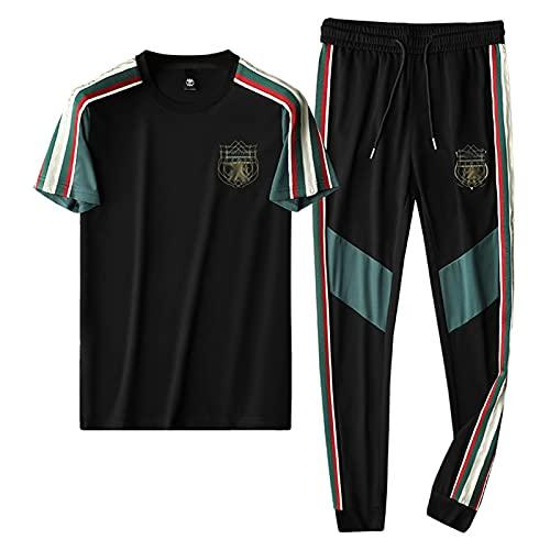 XUANXAI Juego de chándales para Hombre Conjunto de Fondos de Jogging Gym Sports Traje Conjuntos de Camisa Pantalones con cordón de Gimnasio Fondos de Gimnasio Top Joggers Jo Black-L