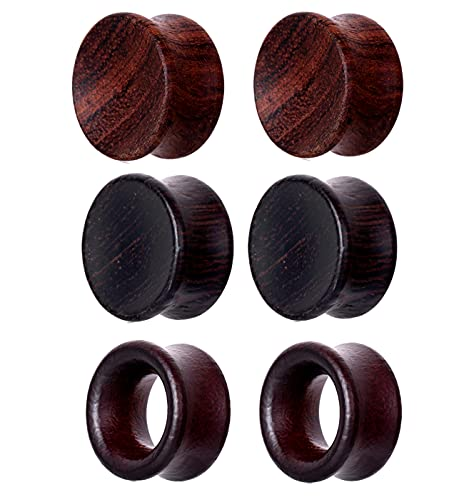 TIANCI FBYJS 3 Pairs Concavity Wooden Gauges Hollow Nature Wood Ear Tunnels Plugs for Women Men Black Earrings Stretcher Piercing Expander Set (00g=10mm)