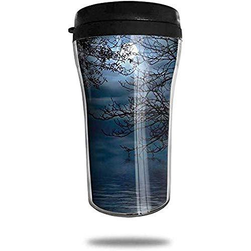 JULOE Nachthimmel Wald Vollmond Hexe Edelstahl Kaffeebecher Travel Cup Vakuumisolierte Kaffeetasse