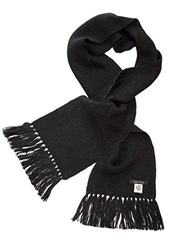 Posh Gear Alpaga Écharpe Homme Scaldante 100% Alpaga laine, 160cm x 20 cm, noir