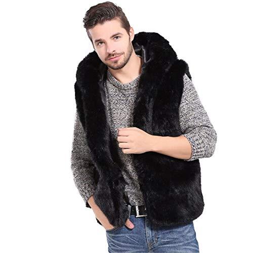 CMYA Chaleco de Piel sintética para Hombre Otoño Invierno Abrigo cálido Chaleco Peludo Chaqueta sin Mangas Estilo Corto Prendas de Abrigo,XXL