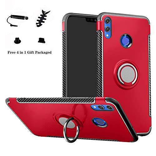 LFDZ Honor 8X Anillo Soporte Funda, 360 Grados Giratorio Ring Grip con Gel TPU Case Carcasa Fundas para Huawei Honor 8X / Honor View 10 Lite Smartphone (Not fit Huawei Honor 8X MAX),Rojo
