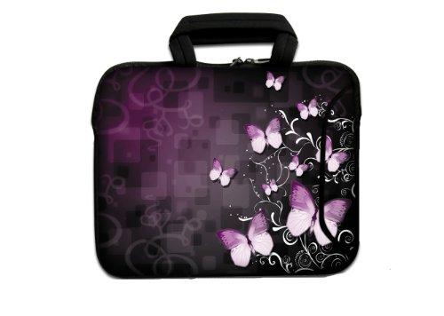wortek Universal Notebook Tasche aus Neopren mit Zusatzfach + Tragegriff für Notebooks bis ca. 17,3 Zoll - Schmetterling Schwarz Pink