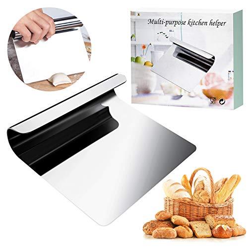 WisFox Gemüseschaufel Kochschaufel Hochwertig Edelstahl Universalhelfer Spachtel Backen Teigschneider Teigspachtel zur Teigbearbeitung Kuchen und Pizza Cutter (4.72 x 5.51 x 1.3 in)