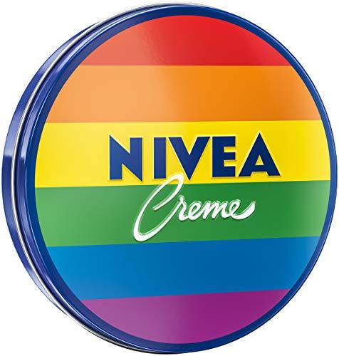 NIVEA Creme Dose Limited Edition im Regenbogen-Design (75 ml), klassische Feuchtigkeitscreme für alle Hauttypen, reichhaltige Hautcreme mit pflegendem Eucerit
