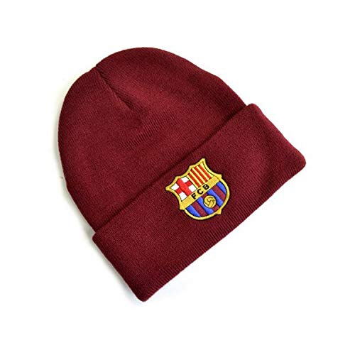 FC Barcelona Bonnet tricoté avec écusson Taille unique Bordeaux