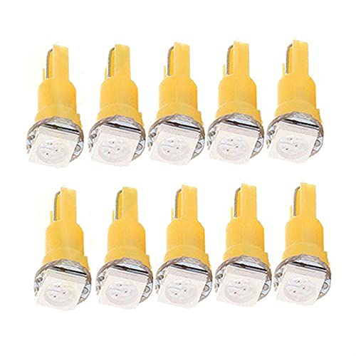 HSMIN. 20 unids Color Opcional T5 5050 1SMD Super Luz Durable Cuña Dashboard LED Bombillas 2721 74 73 70 17 18 37# 268467 (Emitting Color : Yellow)