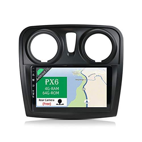 JOYX PX6 Android 10 Autoradio Compatibile Per Dacia - Sandero (2014-2017) - [4G+64G] - Telecamera Canbus Gratuiti - 9 Pollici 2 DIN - Supporto HDMI 4K-Video AHD-Camera DAB 4G WLAN Bluetooth4.0 Carplay