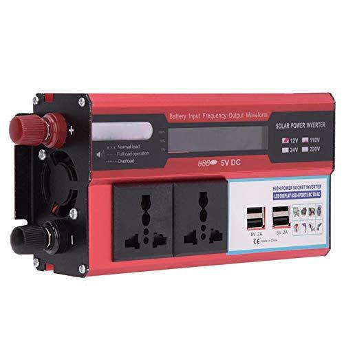 Inversor solar de 3000 W, ligero y compatible, enchufe universal, pantalla digital, inversor solar, carga estable para controlador para automoción