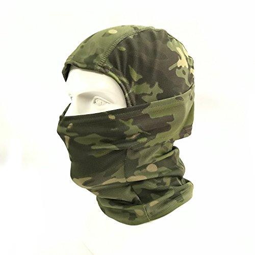 WorldShopping4U Ninja Hood Camouflage Balaclava Tactical Airsoft Outdoor Caccia flessibile Full Face Mask protettiva (Woodland Camo)