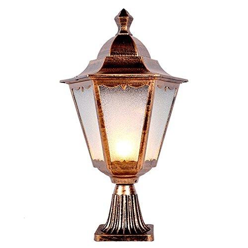 Lámpara de mesa de cristal europeo antiguo, estilo retro, lámpara Victoria, aluminio, metal, exterior, impermeable, césped, columna, E27, decoración de iluminación para Villa Garden Park