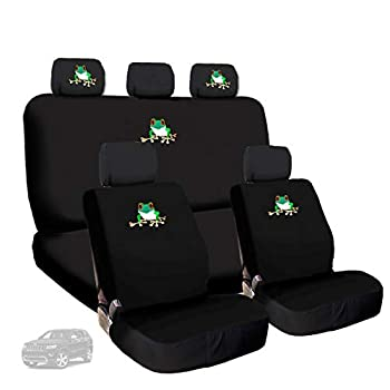 Yupbizauto Front and Rear Frog Embroidery Logo Car Truck SUV Seat Covers Headrest Cover Full Set