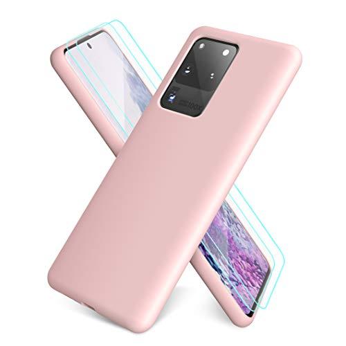 XinYue - Hülle für Samsung Galaxy S20 Ultra, Schlank Weich Dünn TPU Hülle Stoßfest Anti-Scratch Hülle Mit Mikrofaser - Rosa