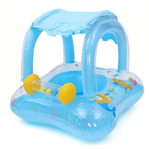 Lukis Schwimmsitz für Babys, Kinder, Sommer, Boot, Cartoon, Glöckchen, mit Sonnendach, Schwimmring, Schwimmspielzeug für Babys, 6 Monate – 3 Jahre (blau)