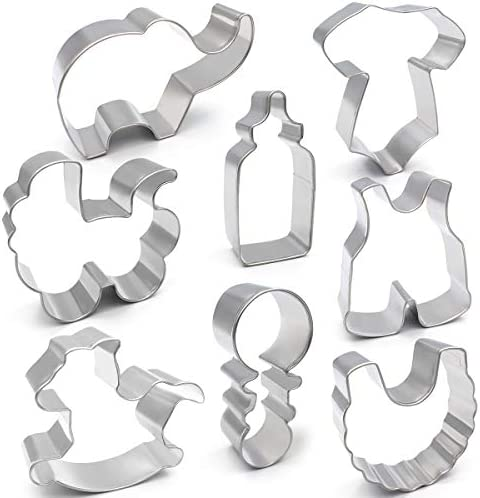 ANPOPO Baby Shower Cookie Cutter Set 8 Piece Onesies Bib Rattle Bottle Baby Carriage Rocking product image